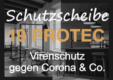 Corona Spuckschutz Virenschutz Schutzscheibe Maßanfertigung Banner klein | Hartmann Holzmarkt Frankfurt Rhein-Main