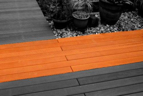 Terrassenbau Terrassendielen Gartenterrasse Foto grau-orange | Hartmann Holzmarkt Frankfurt Rhein-Main