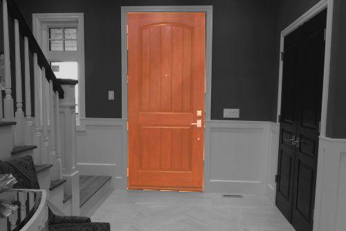 Türen Tür einbauen Foto grau-orange | Hartmann Holzmarkt Frankfurt Rhein-Main